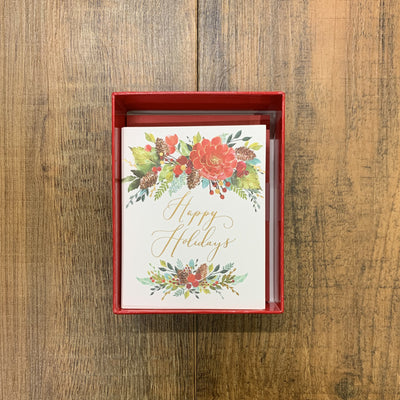 Papyrus Boxed Cards - Happy Holidays Flowers