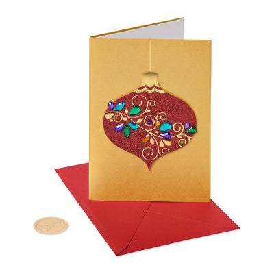 Papyrus Boxed Cards - Red Glitter Holiday Ornament