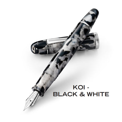 Penlux Masterpiece Grande Fountain Pen - KOI Black & White