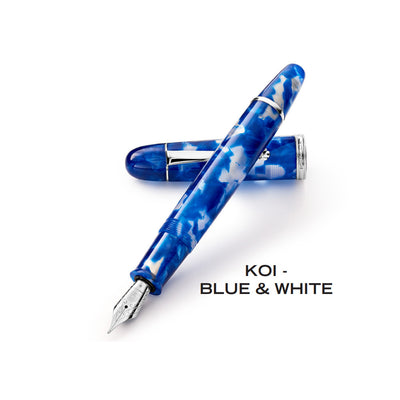 Penlux Masterpiece Grande Fountain Pen - KOI Blue & White
