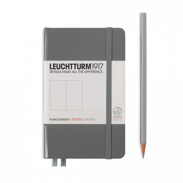 Leuchtturm Anthracite Grey, Pocket (A6), Dotted Notebook, Hardcover, 185 Numbered Pages