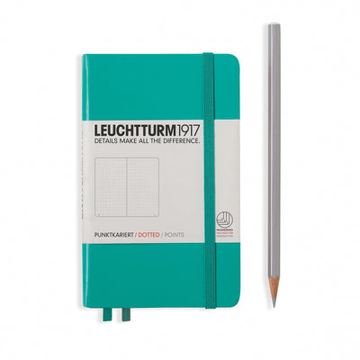Leuchtturm Emerald, Pocket (A6), Dotted Notebook, Hardcover, 185 Numbered Pages
