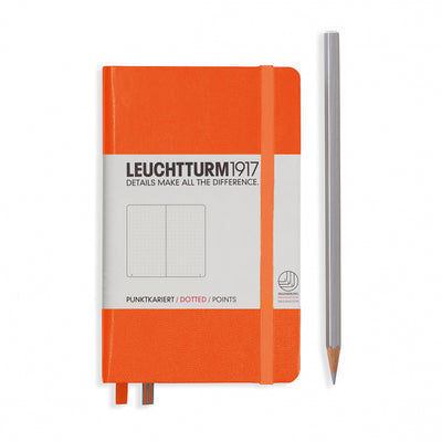Leuchtturm Orange, Pocket (A6), Dotted Notebook, Hardcover, 185 Numbered Pages