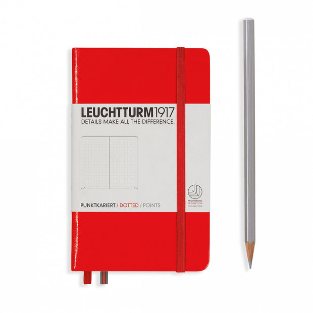 Leuchtturm Red, Pocket (A6), Dotted Notebook, Hardcover, 185 Numbered Pages