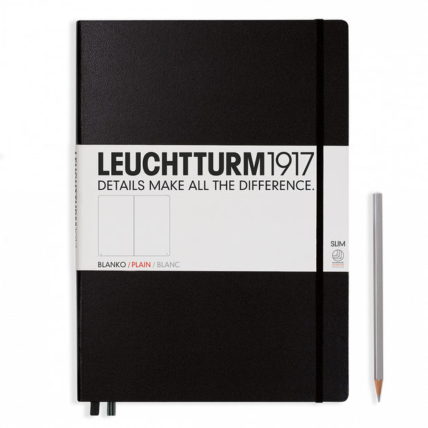 Leuchtturm A4+ Master Slim Hardcover Notebook - Black - Plain