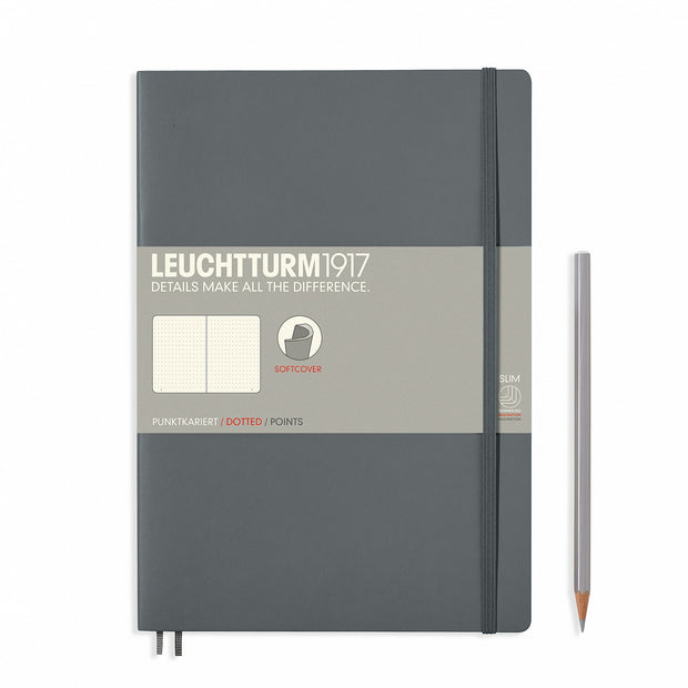 Leuchtturm Anthracite, Medium, Dotted Ruled Notebook, Softcover, 121 Numbered Pages