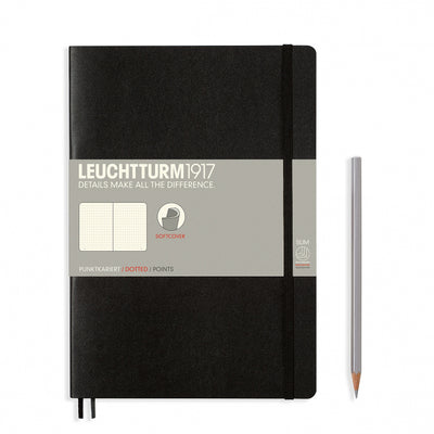 Leuchtturm Black, Medium, Dotted Ruled Notebook, Softcover, 121 Numbered Pages
