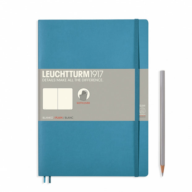 Leuchtturm Nordic Blue, Medium, Plain Ruled Notebook, Softcover, 121 Numbered Pages