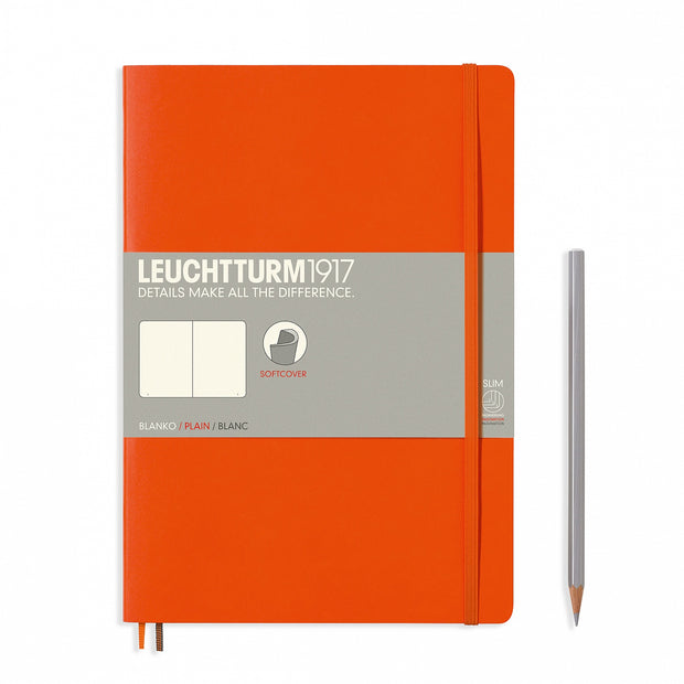 Leuchtturm Orange, Medium, Plain Ruled Notebook, Softcover, 121 Numbered Pages
