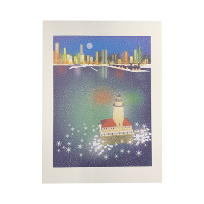 Chicago Harbor Lighthouse & Navy Pier Holiday Cards
