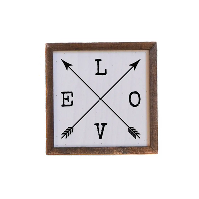 "Love Sign With Arrows - Valentine Sign - 6"" x 6"""