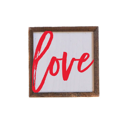 "Love Sign (red)- Valentine's Day Sign - 6"" x 6"""