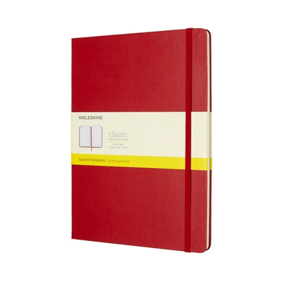 "Moleskine Classic Notebook - XL - 7.5"" x 9.75"" - Graph - Red"