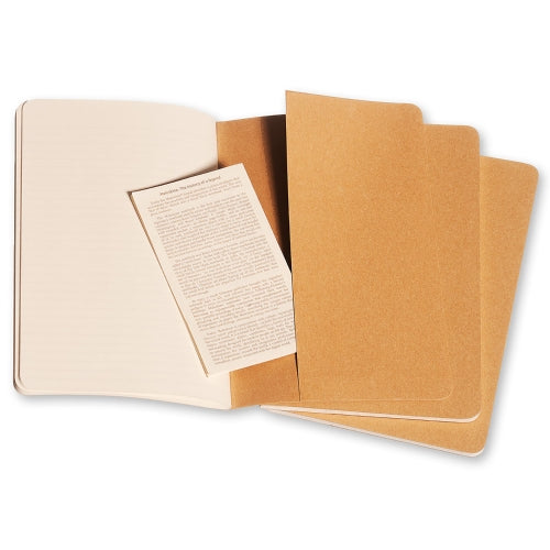 "Moleskine Cahier Journal - Large Size - Ruled Pages - Kraft Cover - 5.5"" x 8.25"" - 3/pk"