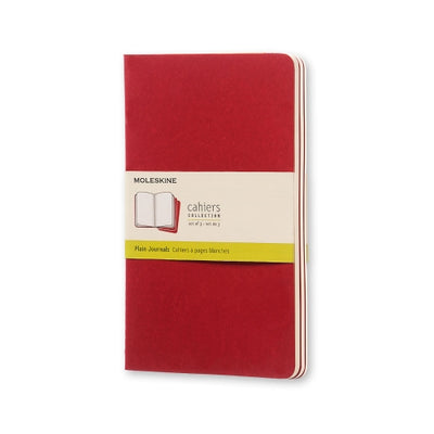 "Moleskine Cahier Journal - Large Size - Plain Pages - Cranberry Red Cover - 5.5"" x 8.25"" - 3/pk"
