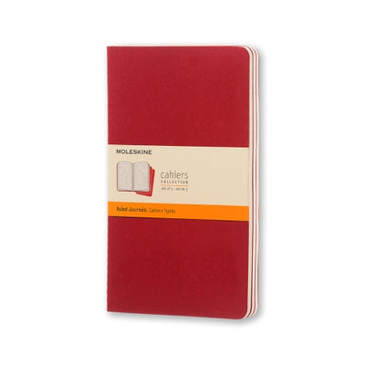 "Moleskine Cahier Journal - Large Size - Ruled Pages - Cranberry Red Cover - 5.5"" x 8.25"" - 3/pk"