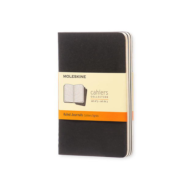 "Moleskine Cahier Journal - Pocket Size - Ruled Pages - Black Cover - 3.5"" x 5.5"" - 3/pk"