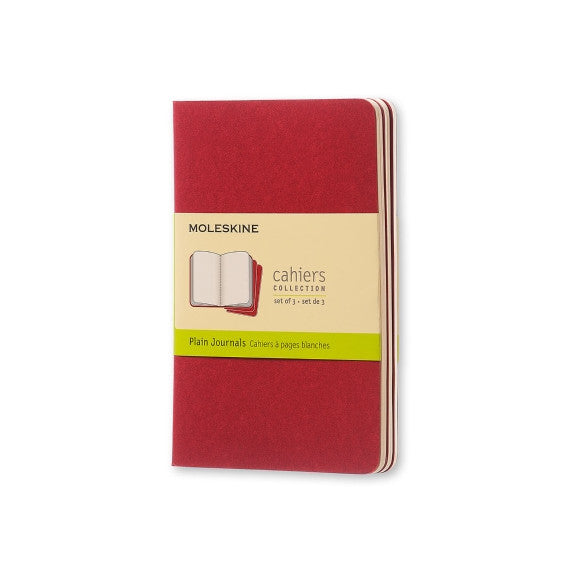 "Moleskine Cahier Journal - Pocket Size - Plain Pages - Cranberry Red Cover - 3.5"" x 5.5"" - 3/pk"