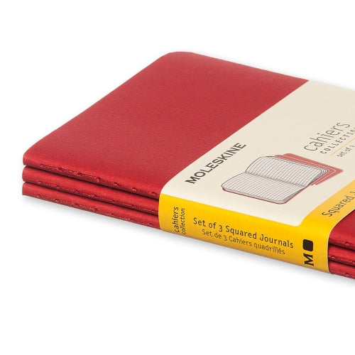 "Moleskine Cahier Journal - Pocket Size - Squared Pages - Cranberry Red Cover - 3.5"" x 5.5"" - 3/pk"