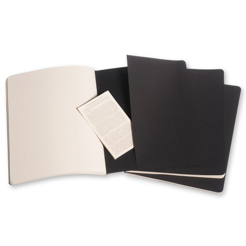 "Moleskine Cahier Journal - XL Size - Ruled Pages - Black Cover - 7.5"" x 9.75"" - 3/pk"