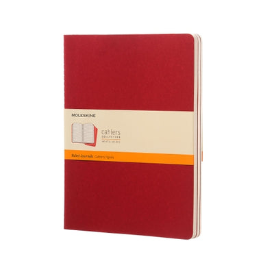 "Moleskine Cahier Journal - XL Size - Ruled Pages - Cranberry Red Cover - 7.5"" x 9.75"" - 3/pk"