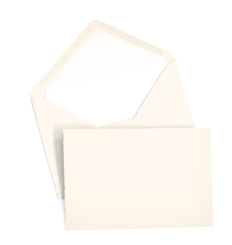 "Classic Stationery Set - Laid Finish, Deckled Edge - 4"" x 6"" - Cream"