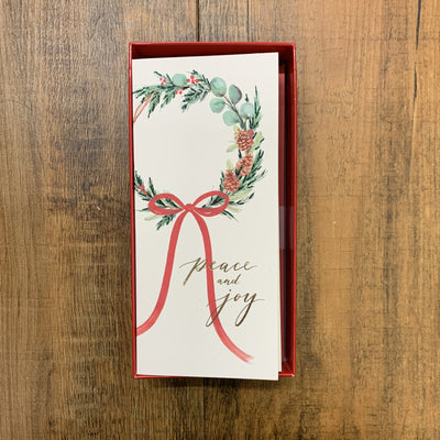 Papyrus Boxed Cards - Peace & Joy Wreath