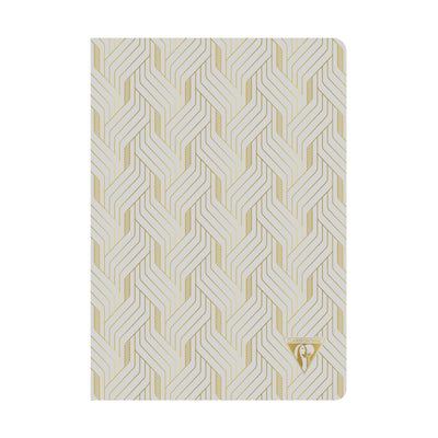 Clairefontaine Neo Deco Sewn Spine Notebook - Ivory Paper - Lined 48 Sheets - 6 x 8 1/4 - Pearl Grey