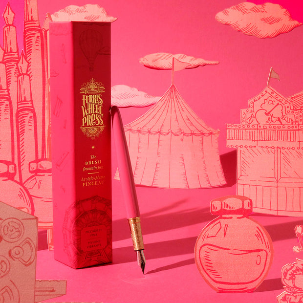Ferris Wheel Press Brush Fountain Pen - Piccadilly Pink