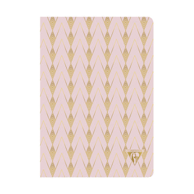 Clairefontaine Neo Deco Sewn Spine Notebook - Ivory Paper - Lined 48 Sheets - 6 x 8 1/4 - Powder Pink