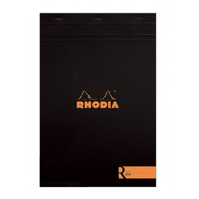 "Rhodia ""R"" Premium Stapled Notepad - Blank 70 sheets - 8 1/4 x 11 3/4 - Black cover"