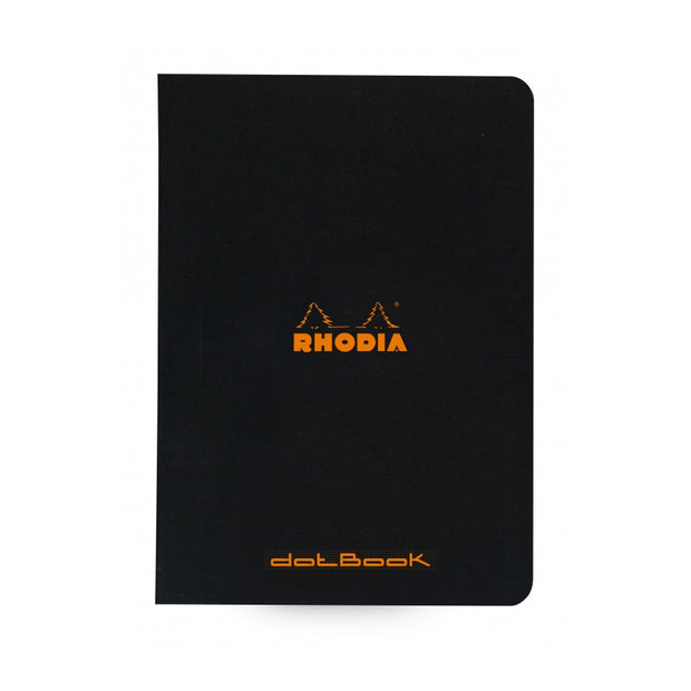 Rhodia Slim Staplebound Notebook - Dot grid 48 sheets - 6 x 8 1/4 - Black cover