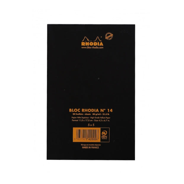 Rhodia Staplebound Notepad - Graph 80 sheets - 4 3/8 x 6 3/8 - Black cover