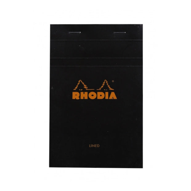Rhodia Staplebound Notepad - Lined 80 sheets - 4 3/8 x 6 3/8 - Black cover