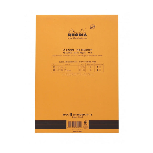 "Rhodia ""R"" Premium Stapled Notepad - Lined 70 sheets - 6 x 8 1/4 - Orange cover"