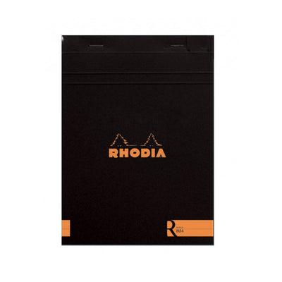"Rhodia ""R"" Premium Stapled Notepad - Lined 70 sheets - 6 x 8 1/4 - Black cover"
