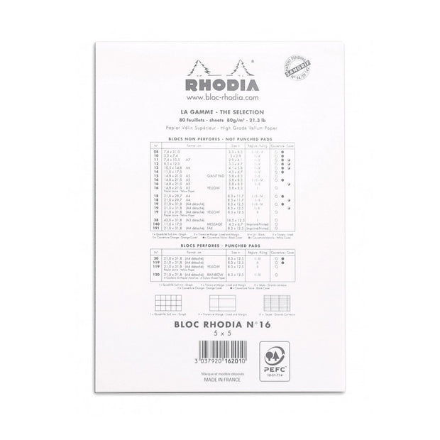 Rhodia Staplebound Notepad - Graph 80 sheets - 6 x 8 1/4 - White cover