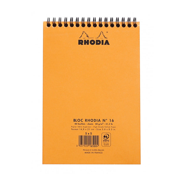 8 1//4 x 12 1//2 in Lined w// margin 80 sheets Rhodia Staplebound Notepads - Orange cover