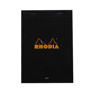 Rhodia Staplebound Notepad - Lined w/ margin 80 sheets - 6 x 8 1/4 - Black cover