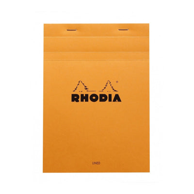 Rhodia Staplebound Notepad - Lined w/ margin 80 sheets - 6 x 8 1/4 - Orange cover