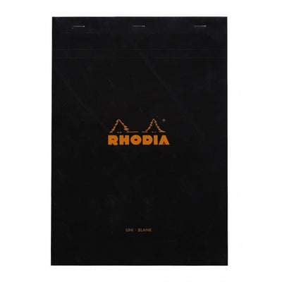 Rhodia Staplebound Notepad - Blank 80 sheets - 8 1/4 x 11 3/4 - Black cover