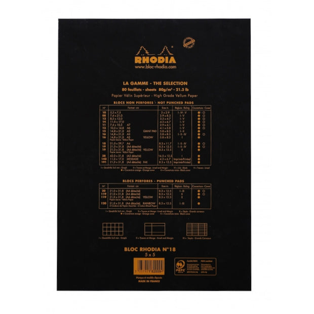 Rhodia Staplebound Notepad - Graph 80 sheets - 8 1/4 x 11 3/4 - Black cover