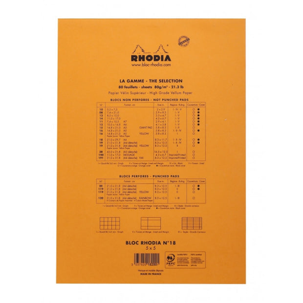 Rhodia Staplebound Notepad - Graph 80 sheets - 8 1/4 x 11 3/4 - Orange cover