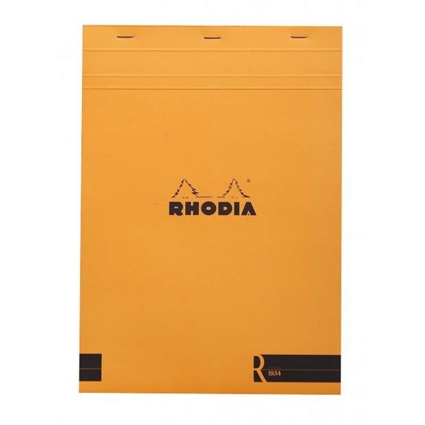 "Rhodia ""R"" Premium Stapled Notepad, Lined, Orange Cover, 8 14"" x 11 3/4"""