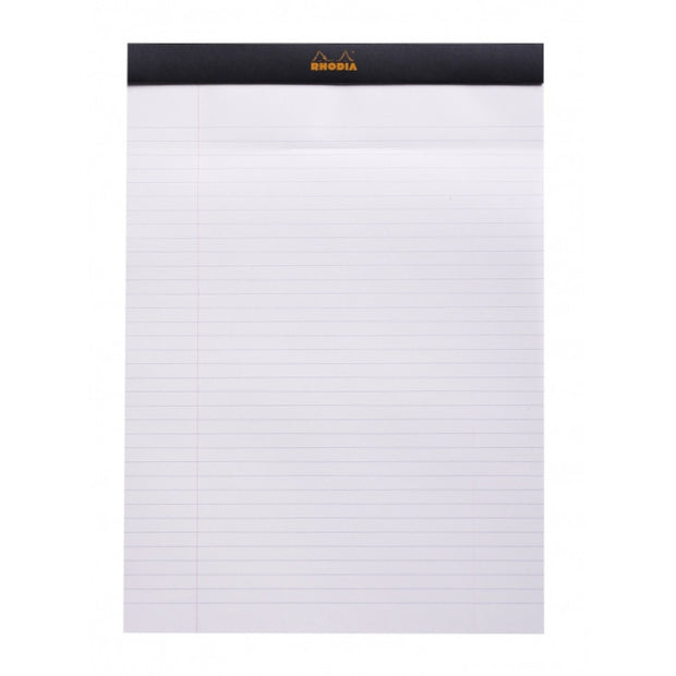 Rhodia Staplebound Notepad - Lined w/ margin 80 sheets - 3 hole punched - 8 1/4 x 11 3/4 - Black cover