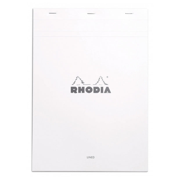 Rhodia Staplebound Notepad - Lined w/ margin 80 sheets - 8 1/4 x 11 3/4 - White cover