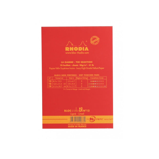 Rhodia ColoR Pads, Poppy Cover, Ruled Pages, 3 3/8 x 4 3/4