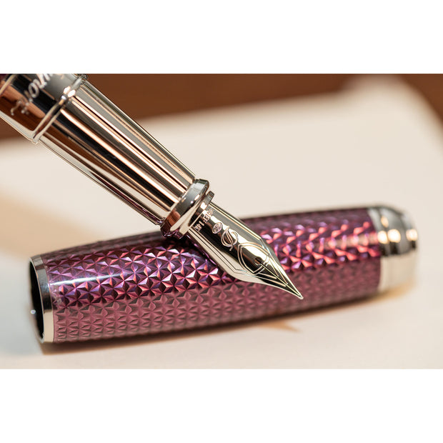 S.T. Dupont Line D Fire-head Guilloche Fountain Pen - Amethyst with Palladium Trim