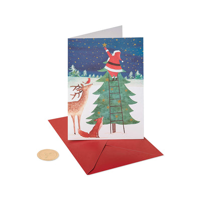 Papyrus Boxed Cards - Santa Reaching For Holiday Star