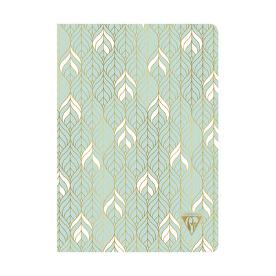 Clairefontaine Neo Deco Sewn Spine Notebook - Ivory Paper - Lined 48 Sheets - 6 x 8 1/4 - Sea Green